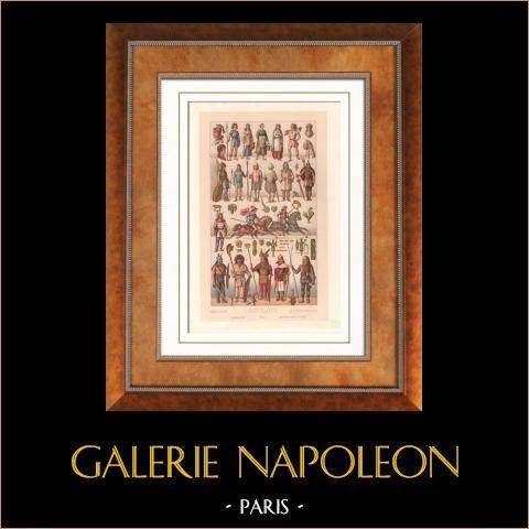 Modes et Costumes Français - Gaulois - Paysan - Guerrier - Armes - Francs - Francs saliens | Lithographie originale gravée par Nordmann. 1876