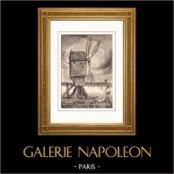 Collezione Mulini di Francia 29/68 - Mulino a Vento - Saint-Valery-en-Caux (Senna Marittima - Seine-Maritime - Francia) | Litografia originale su carta d'arte secondo Valade. 1948