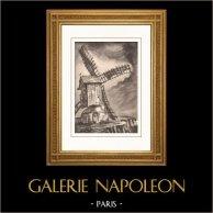 Collezione Mulini di Francia 30/68 - Mulino a Vento - Sanvic - Le Havre (Senna Marittima - Seine-Maritime - Francia) | Litografia originale su carta d'arte secondo Valade. 1948