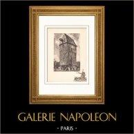 Collezione Mulini di Francia 31/68 - Mulino a Vento - Valle - Vatteville-la-Rue (Senna Marittima - Seine-Maritime - Francia) | Litografia originale su carta d'arte secondo Valade. 1948