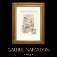 Collection Mills of France 33/68 - Windmill - Moulin de la Galette - Moulin du Blute Fin - 1295 - Montmartre (Paris - France) | Original lithography on art paper after Valade. 1948