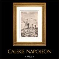 Colección Molinos de Francia 40/68 - Molino de Viento - Mont-Dol (Ille-et-Vilaine - Francia) | Original litografia sobre papel de arte según Valade. 1948