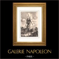 Collection Moulins de France 53/68 - Moulin à Vent - Moulin de la Croix-Cadeau à Avrillé - 1730 (Maine-et-Loire - France) | Lithographie originale sur papier pur chiffon Lana d'après Valade. 1948