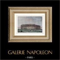 Arènes de Nîmes - Amphithéâtre Romain (France) | Gravure sur acier originale dessinée par Gaucherel. Aquarellée à la main. 1841