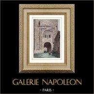 Porte Noire - Arco de triunfo Galo-romano - Marco Aurelio - Besançon (Francia) | Original acero grabado. Anónimo. Agua-coloreado a mano. 1841
