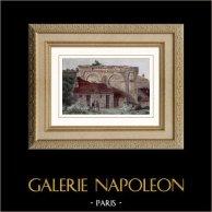Porte Gallo-Romaine - Langres (France) | Gravure sur acier originale. Anonyme. Aquarellée à la main. 1841