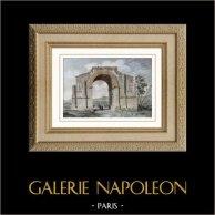 Arc Romain de Glanum - Saint-Rémy-de-Provence (France) | Gravure sur acier originale. Anonyme. Aquarellée à la main. 1841
