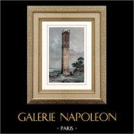 Pile de Cinq-Mars - Tour funéraire Gallo-romaine - Cinq-Mars-la-Pile (France) | Gravure sur acier originale. Anonyme. Aquarellée à la main. 1841