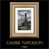 La Grande Cheminée - Monument Gallo-Romain - Quinéville près de Valognes (France) | Gravure sur acier originale. Anonyme. Aquarellée à la main. 1841