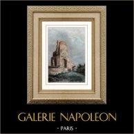Tour Magne - Monument Gallo-romain - Nîmes (France) | Gravure sur acier originale. Anonyme. Aquarellée à la main. 1841