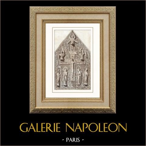 Caja de las Reliquias - Catedral de Chartres - Siglo XII (Francia) | Original acero grabado dibujado por Gaucherel. Agua-coloreado a mano. 1841