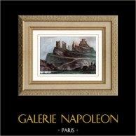Château Gaillard - Les Andelys (Eure - France) | Gravure sur acier originale dessinée par Gaucherel. Aquarellée à la main. 1841