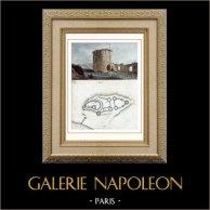 Château Gaillard - Les Andelys (Eure - France) - Donjon | Gravure sur acier originale dessinée par Breton. Aquarellée à la main. 1841