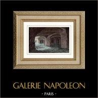 Château Gaillard - Les Andelys (Eure - France) - Crypte | Gravure sur acier originale dessinée par Breton. Aquarellée à la main. 1841