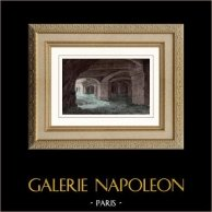 Château Gaillard - Les Andelys (Eure - Francia) - Cripta | Original acero grabado dibujado por Breton. Agua-coloreado a mano. 1841