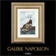 Église Saint-Pierre de Montmartre - Butte Montmartre (Paris - France) | Gravure sur acier originale dessinée par Gaucherel. Aquarellée à la main. 1841