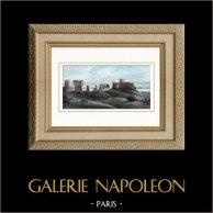 Château Gaillard - Les Andelys (Eure - France) | Gravure sur acier originale dessinée par Breton. Aquarellée à la main. 1841