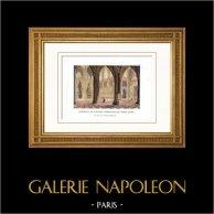 Domkyrka - Katedralen Notre-Dame de Paris (Frankrike) - Interiör - Inre - Insida   Original kopparstick. Anonymt. Akvarell handkolorerad. 1818