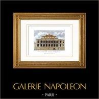 Ópera de París - Ópera Garnier - Palacio Garnier - Paris (Francia)   Original copre grabado grabado por Barriere Père. Agua-coloreado a mano. 1818