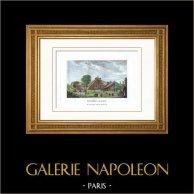 Folie Beaujon - Montagnes françaises - Nicolas Beaujon - Parc - Paris (France) | Gravure sur cuivre originale gravée par Couché fils. Aquarellée à la main. 1818