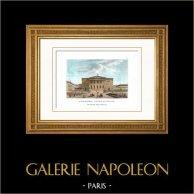 Palais Bourbon - Assemblée Nationale française - Paris (France)   Gravure sur cuivre originale gravée par Couché fils. Aquarellée à la main. 1818
