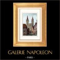 Cattedrale Saint-Paul-Aurélien di Saint-Pol-de-Léon - Finistère - Bretagna (Francia) | Incisione su acciaio originale disegnata da Gaucherel. Acquerellata a mano. 1842