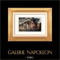 Castello di Clisson - Baluardo - Bastione (Loira atlantica - Francia) | Incisione su acciaio originale disegnata da Gaucherel. Acquerellata a mano. 1842