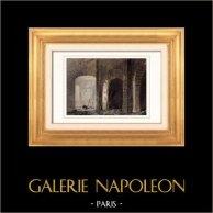 Castello di Clisson - Salles Basses (Loira atlantica - Francia) | Incisione su acciaio originale disegnata da Gaucherel. Acquerellata a mano. 1842