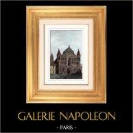 Église Notre-Dame la Grande de Poitiers - Poitou-Charentes (France) | Gravure sur acier originale dessinée par Guillaumot. Aquarellée à la main. 1841