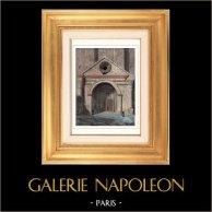 Cathédrale Notre-Dame des Doms d'Avignon - Vaucluse - Provence-Alpes-Côte d'Azur (France) | Gravure sur acier originale dessinée par Gaucherel. Aquarellée à la main. 1841