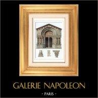 Cathédrale Saint-Trophime d'Arles - Provence-Alpes-Côte d'Azur (France) | Gravure sur acier originale dessinée par Guillaumot. Aquarellée à la main. 1841
