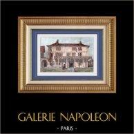Maison à Luxeuil - Franche-Comté - Haute-Saône (France) | Gravure sur acier originale dessinée par Gibert. Aquarellée à la main. 1843