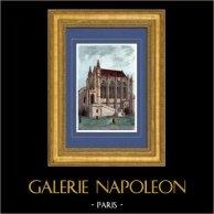 Vue de Paris - La Sainte Chapelle au Palais de Justice   Gravure sur acier originale dessinée par Guillaumot. Aquarellée à la main. 1842