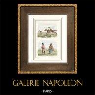 Patagonie - Chasse à l'autruche - Soldat - Indienne | Gravure sur acier originale dessinée par Louis Auguste de Sainson. Aquarellée à la main. 1836