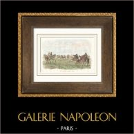 Gauchos in Pampas - Horse Race - Argentina (South America) | Original steel engraving drawn by Louis Auguste de Sainson. Hand watercolored. 1836