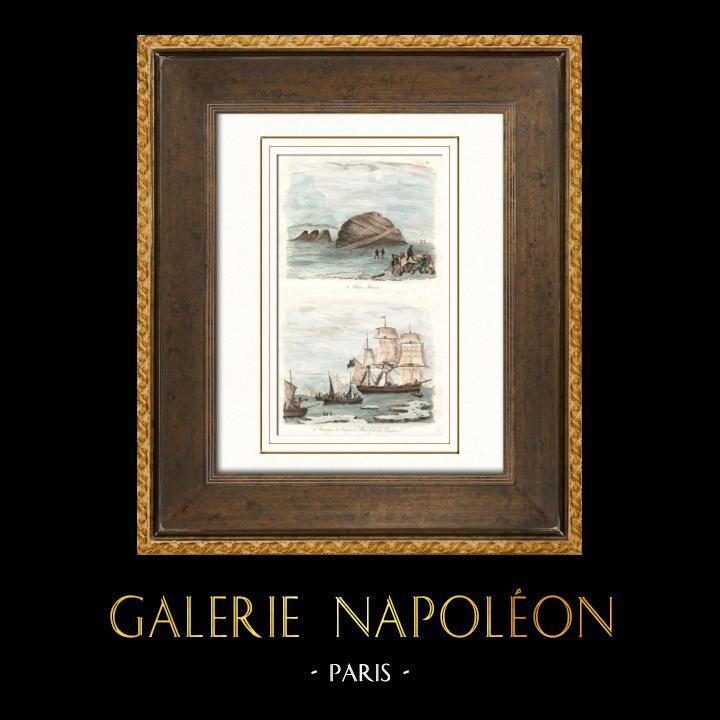 Gravures Anciennes & Dessins | Vue des Iles Tilson - Sauvetage du Capitaine Ross (Arctique) | Taille-douce | 1836
