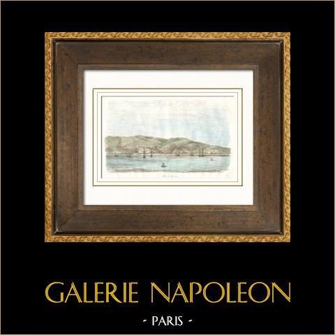 Ansicht von Valparaiso (Chile) | Original stahlstich gezeichnet von Louis Auguste de Sainson. Handaquarelliert. 1836