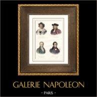 Portraits de Christophe Colomb (1451-1506) - Guillaume Penne (1644-1718) - Alexander von Humboldt (1769-1859) - Alcide D'Orbigny (1802-1857)