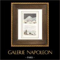Esquimese - Caccia di Bue Muschiato (Circolo Polare) | Incisione su acciaio originale disegnata da Louis Auguste de Sainson. Acquerellata a mano. 1836