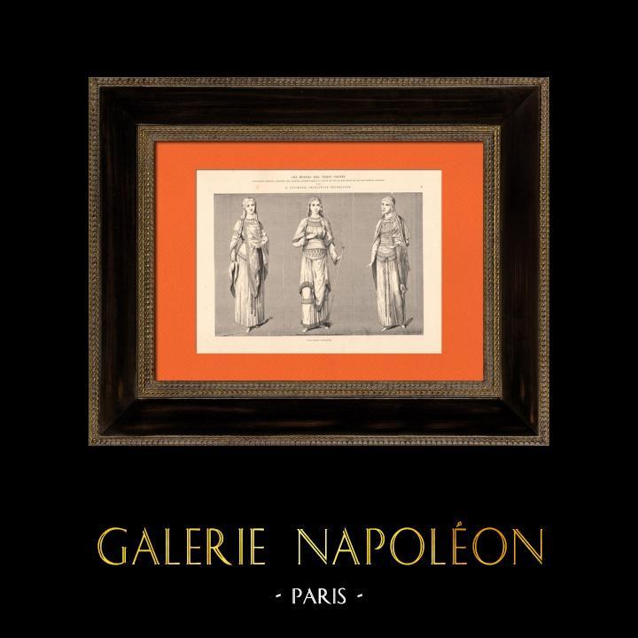 Gravures Anciennes & Dessins   Costumes de femmes - Statues de la Cathédrale de Chartres - France   Taille-douce   1870
