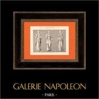 Costumi di donne - Statue di Cattedrale di Chartres - Francia | Incisione su acciaio originale. Anonima. 1870