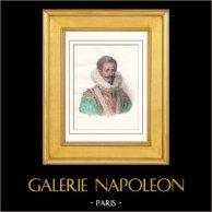 Portrait de Henri Ier de Guise dit le Balafré (1549-1588)   Gravure sur acier originale dessinée par Vernier. Aquarellée à la main. 1843