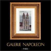 Cathédrale Saint-Gatien de Tours (Indre et Loire - France)   | Gravure sur acier originale dessinée par Gaucherel. Aquarellée à la main. 1842