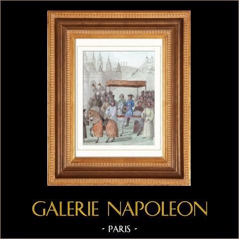 Charles VIII entre à Paris (1484) | Gravure sur acier originale dessinée par Vernier. Aquarellée à la main. 1842
