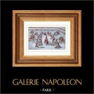 Veduta di Parigi - Place Royale - Place des Vosges (1612) | Incisione su acciaio originale. Lemaitre direxit. Acquerellata a mano. 1842