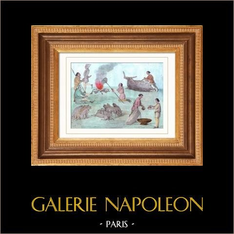 Gaston Phébus - Gaston III de Foix Béarn - Le Livre de Chasse | Gravure sur acier originale dessinée par Gaucherel. Aquarellée à la main. 1842