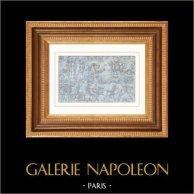 Arazzo di Bayeux - Arazzo della Regina Matilde - Battaglia | Incisione su acciaio originale disegnata da Vernier. Acquerellata a mano. 1842