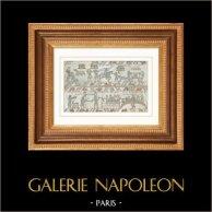 Arazzo di Bayeux - Arazzo della Regina Matilde - Pasto | Incisione su acciaio originale disegnata da Vernier. Acquerellata a mano. 1842