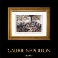Bataille Navale de Trafalgar - Mort de l'Amiral Nelson (1805) | Gravure sur acier originale dessinée par Martinet, gravée par Reville. Aquarellée à la main. 1836