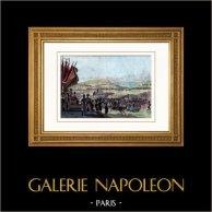 Guerres Napoléoniennes - Napoléon Bonaparte - Revue militaire au Camp de Boulogne (1804) | Gravure sur acier originale dessinée par Martinet, gravée par Massard. Aquarellée à la main. 1836